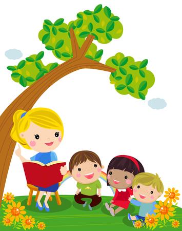 Teacher and students Illustration