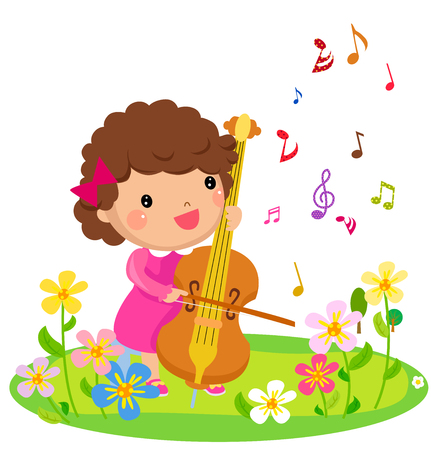 pretty smile: The little girl is playing the cello Illustration