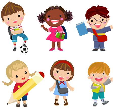 pupils boys and girls  イラスト・ベクター素材