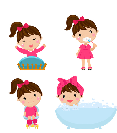 Gesunde Hygiene für Mädchen Cartoon Standard-Bild - 85308149