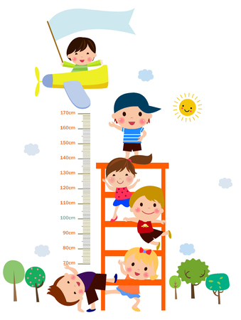 The childs height illustrations Çizim