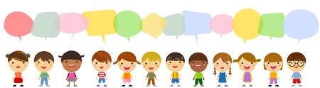 communication cartoon: Group of children