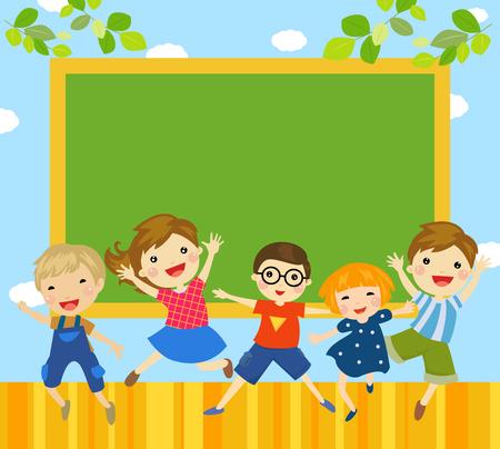 Group of children and blackboard Ilustracja