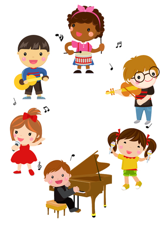 Group of children and music collection