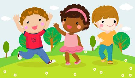 Illustration of cute three happy kids