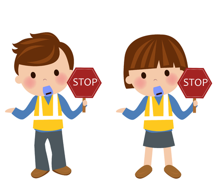 Cartoon man and woman with stop sign