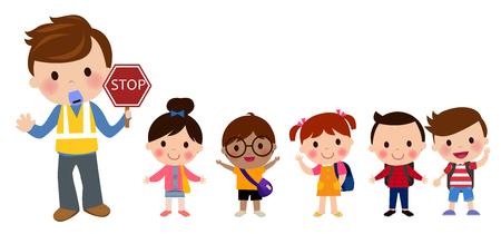 通りを渡る子供たち