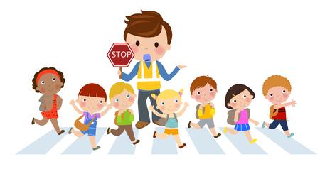 Crossing the street  イラスト・ベクター素材