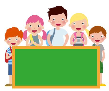 Cartoon students with a blank blackboard Ilustracja