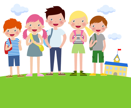 Cartoon Boys and girls with backpacks