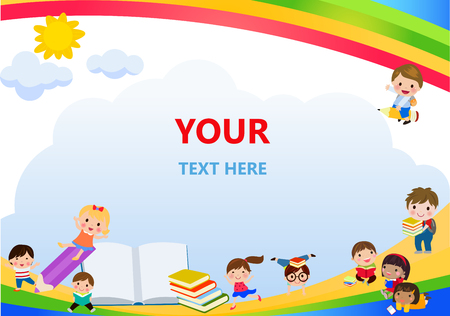 Happy children and books frame
