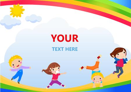 Cartoon children running on a rainbow Ilustracja