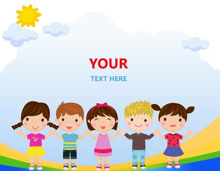 Cartoon children holding hands together Ilustracja
