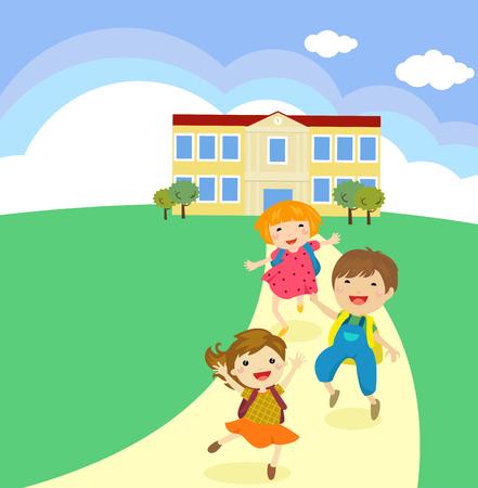 Cartoon children walking out from a school