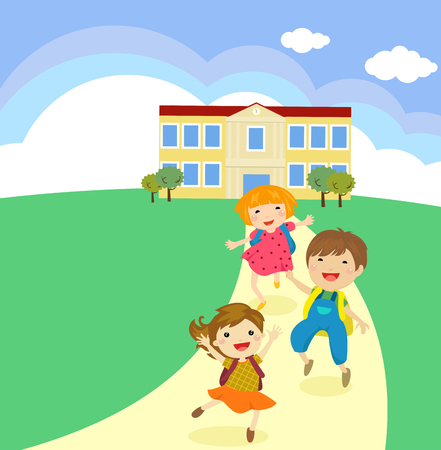 Cartoon children walking out from a school