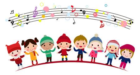 Children singing in a group Illustration