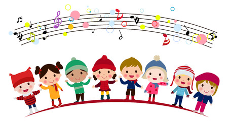 Children singing in a group Illustration