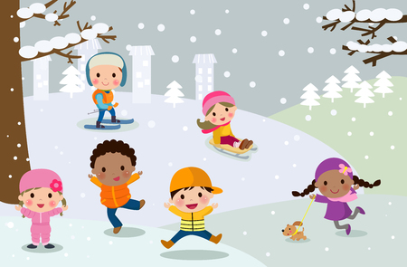 Group of children playing in snow