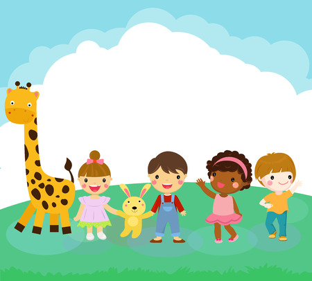 Children with a giraffe Vectores