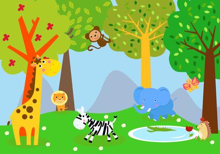 Cartoon wild animals in the jungle Ilustracja