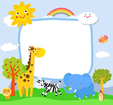 Cartoon wild animals with copy space