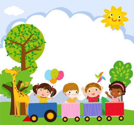 Cartoon children in a jungle