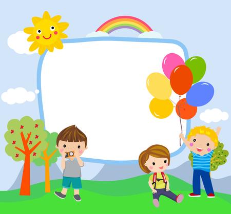 Cartoon children with copyspace Ilustracja