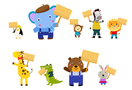 Cartoon wild animals holding signboards