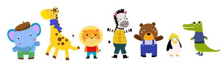 Cute animal characters Ilustracja