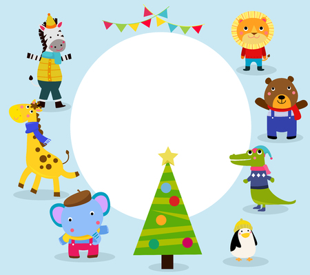 Cute animal characters with Christmas concept