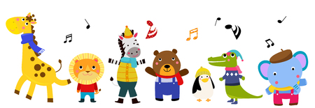 Cute animal characters with musical notes