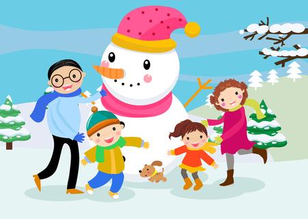 Cartoon family with a snowman