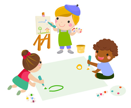 Cartoon children drawing and painting Ilustracja