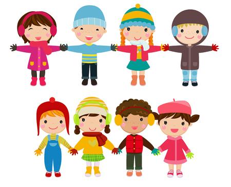 Cartoon children holding hands Ilustracja