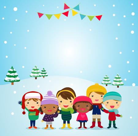 Cartoon children with winter concept