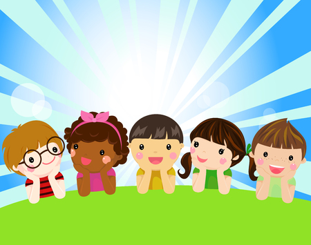 Children with sunny concept