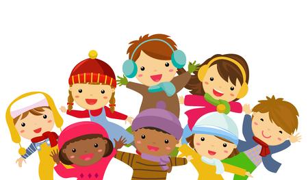 Cartoon children in winter clothings