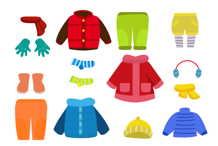 Cartoon winter clothings