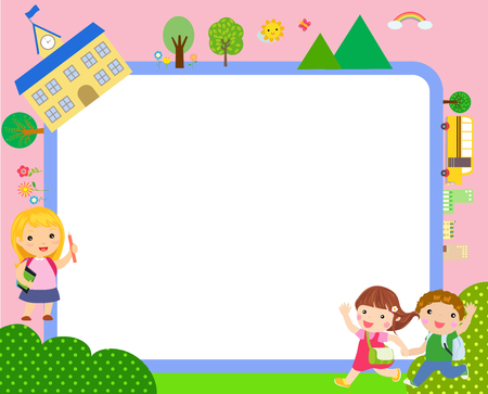 Children with back to school concept Ilustracja