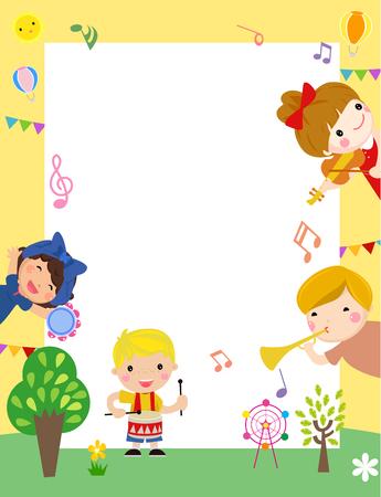 Children playing musical instruments Ilustracja