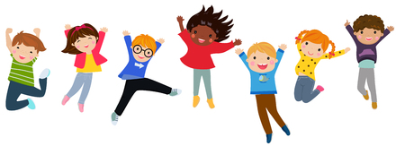 Children jumping for joy Stock Illustratie