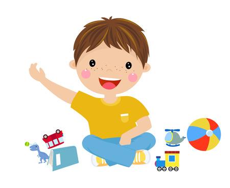 Cartoon boy with toys Ilustracja