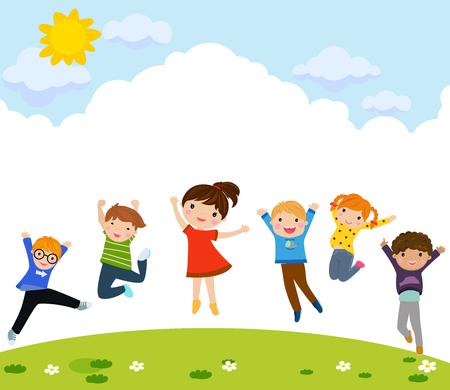 Children jumping outdoors