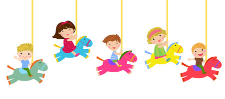 Cartoon children riding carousel horse