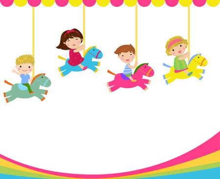 Cartoon children riding carousel horse