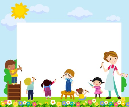Children and art concept with copyspace Ilustracja