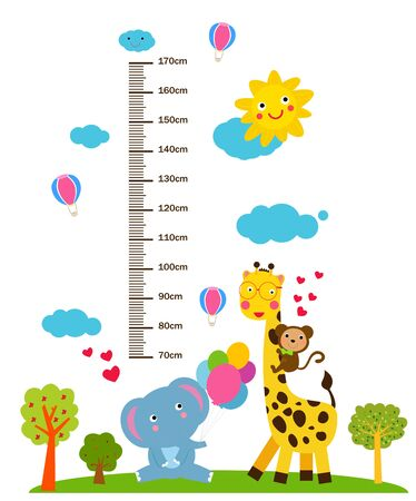 Kids height scale with funny animals.