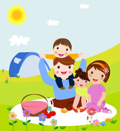 Happy family on a picnic. Dad, mom, son and daughter are resting in nature.