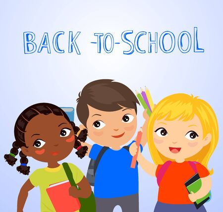 Three cute students, back to school. Ilustracja