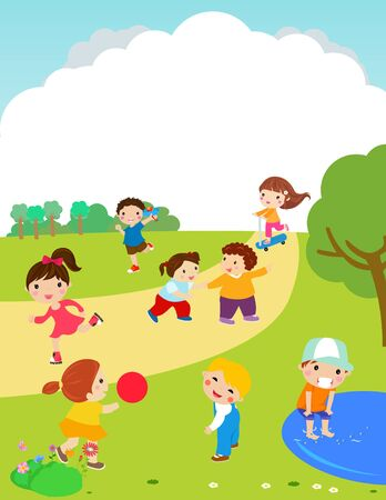 Happy children playing outdoor